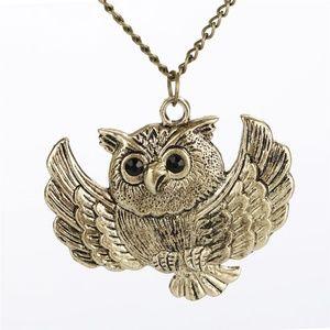 Owl Vintage Necklace with Black Rhinestone Eyes
